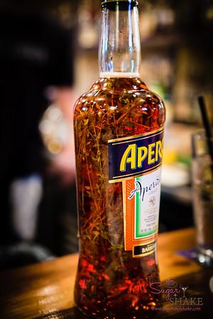 New Summer 2016 Menu Tasting at Pint + Jigger. Thyme-infused Aperol. So savory! © 2016 Sugar + Shake