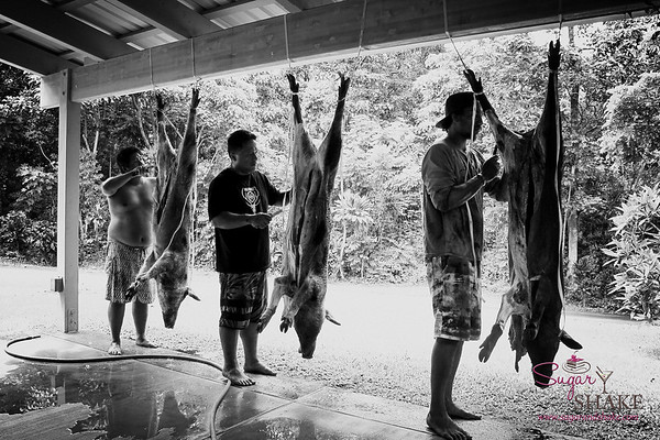Butchering the puaʻa (wild boar). © 2017 Sugar + Shake