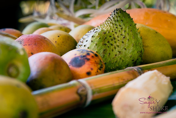 The bounty of Kapahu Living Farm: papaya, soursop, mango, sugarcane. © 2015 Sugar + Shake