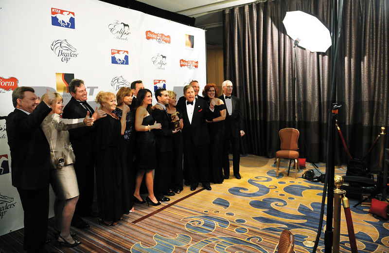 BEVERLY HILLS-CA-JANUARY 16, 2012: Havre de Grace owner Rick Porter and connections celebrate picking up the award for Horse of the Year at The 41st Annual Eclipse Awards presented by Daily Racing Form and Breeders' Cup at The Beverly Wilshire in Beverly Hills, California on Monday, January 16, 2012. <br /> Photo by Wally Skalij / Blood Horse