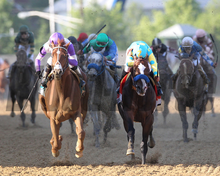 INTO THE LIGHT... I'll Have Another (left) and Bodemeister emerge from the shadows at Pimlico Race Course at the wire of the Preakness Stakes.     <br /> Photo by Tom Boland