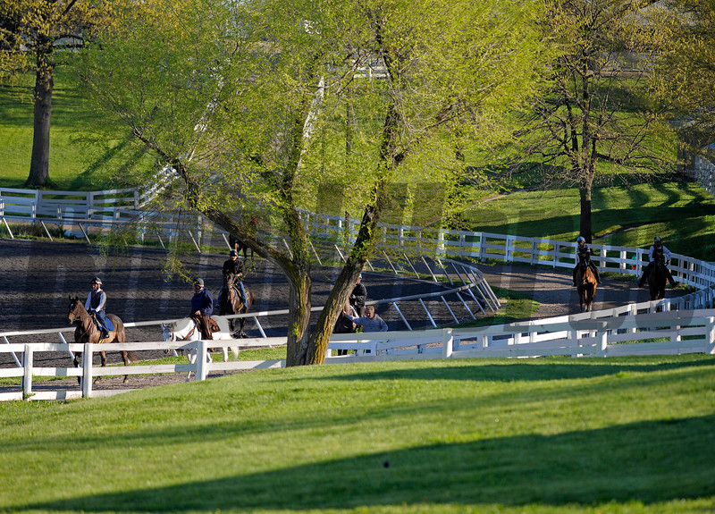 Caption: training scene<br /> Spring weather during training at Keeneland in March 2012. March 24, 2012, Lexington, Ky.<br /> KEESpringScenes image763<br /> Photo by Anne M. Eberhardt