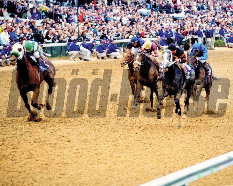 Macho Uno roars down the stretch of the Breeders' Cup Juvenile.<br /> Photo by: Dave Harmon