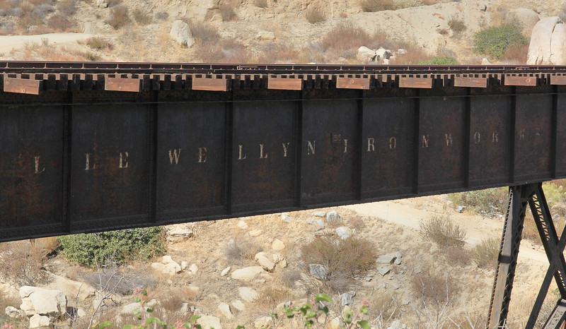The bridge was built around 1908 by the Llewellyn Ironworks out of L.A.
