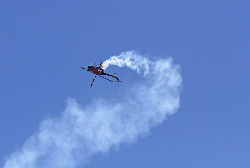 The Red Bull helicopter gets upside down.