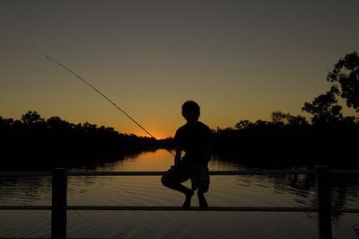 fishing on the bridge...thomson river longreach