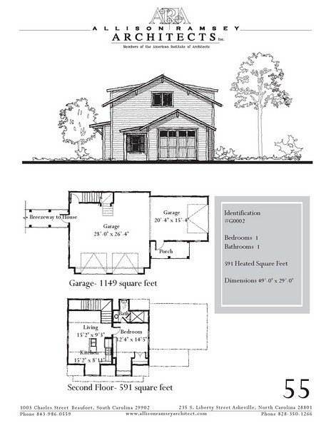 """The overall dimensions are 49'-0"""" x 29'-0"""" with 591 Heated Square Feet above. Outbuildings, page 45."""