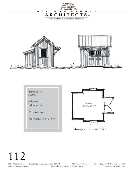 "The overall dimensions are 12'-0"" x 12'-0"". Outbuildings, page 102."