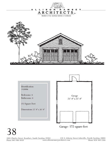 """The overall dimensions are 22'-0"""" x 26'-0"""". Outbuildings, page 38."""