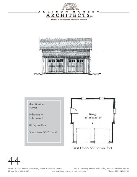 "The overall dimensions are 24'-0"" x 24'-0"". Outbuildings, page 44."