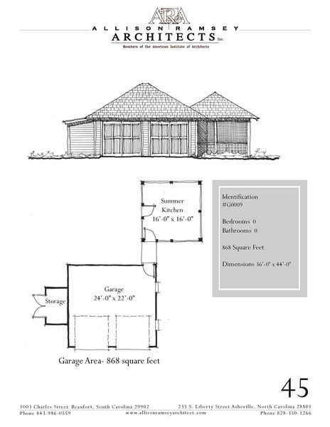 """The overall dimensions are 36'-0"""" x 44'-0"""". Outbuildings, page 45."""