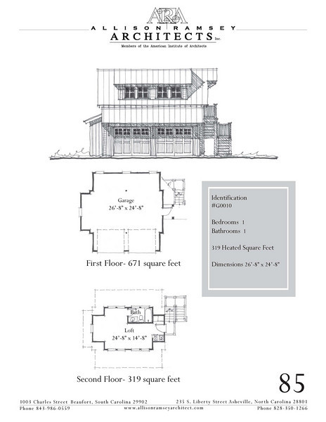 """The overall dimensions are 26'-8"""" x 24'-8"""" with 319 Heated Square Feet above. Outbuildings, page 85."""