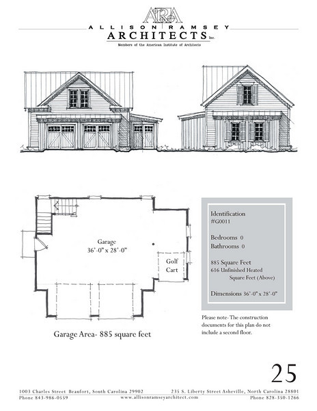 """The overall dimensions are 36'-0"""" x 28'-0"""" with 616 Unfinished Heated Square Feet above. Outbuildings, page 15."""