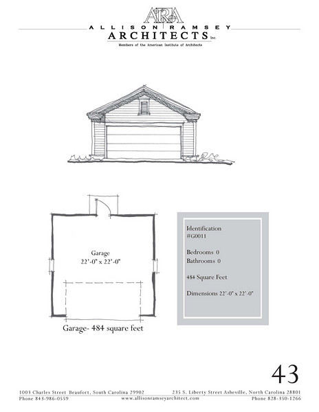 "The overall dimensions are 22'-0"" x 22'-0"". Outbuildings, page 43."