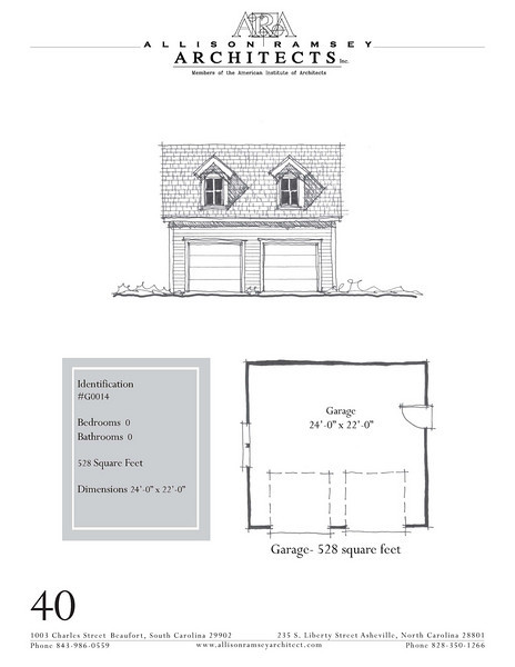 """The overall dimensions are 24'-0"""" x 22'-0"""". Outbuildings, page 40."""
