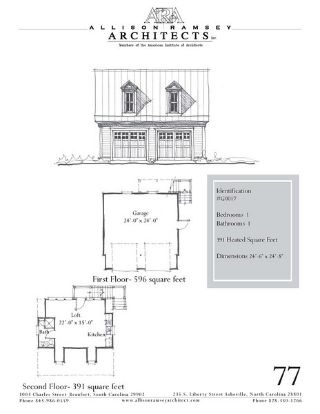 "The overall dimensions are 24'-6"" x 24'-8"" with 391 Heated Square Feet above. Outbuildings, page 67."