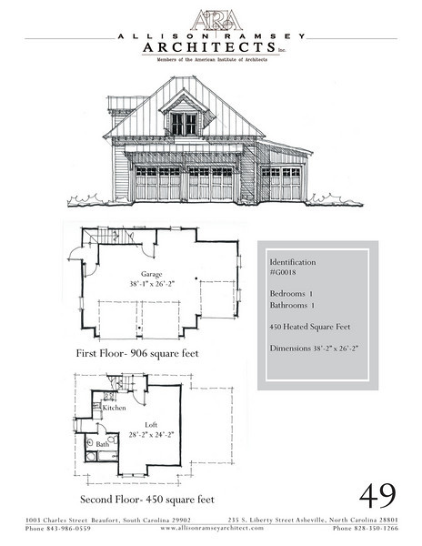 "The overall dimensions are 38'-2"" x 26'-2"" with 450 Heated Square Feet above. Outbuildings, page 39."