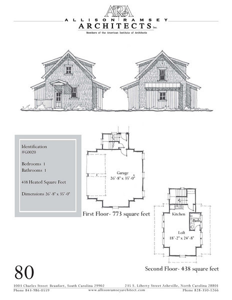 """The overall dimensions are 26'-8"""" x 35'-0"""" with 438 Heated Square Feet above. Outbuildings, page 70."""