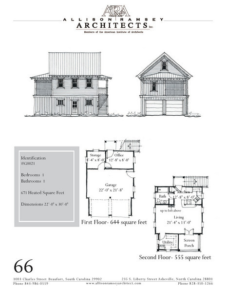 "This plan is 22'-0"" x 30'-0"" with 671 Heated Square Feet above. Outbuildings, page 56."