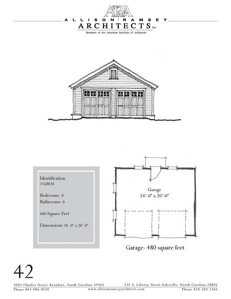 """G0024 is a 2-car garage. The overall dimensions are 24'-0"""" x 20'-0"""". Outbuildings, page 32."""