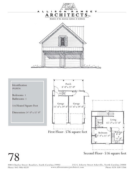 "G0026 is a 2-car garage with bonus space above. The overall dimensions are 24'-0"" x 32'-0"" with 516 heated square feet above.  Outbuildings, page 68."