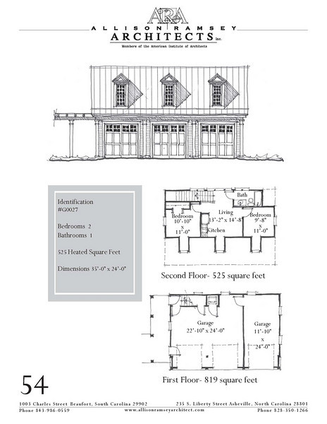 """G0027 is a 3-car garage with bonus space above. The overall dimensions are 35'-0"""" x 24'-0"""" with 525 heated square feet.  Outbuildings, page 44."""