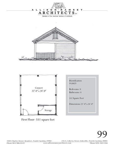 """G0029 is a 2-car carport. The overall dimensions are 22'-0"""" x 24'-0"""". Outbuildings, page 89."""