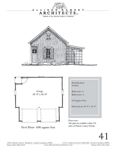 """G0031 is a 2-car garage. The overall dimensions are 28'-0"""" x 26'-0"""". Outbuildings, page 41."""