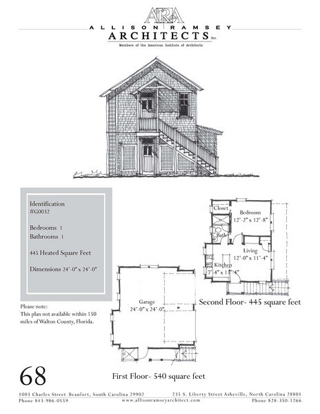 "G0032 is a 2-car garage with bonus space above. The overall dimensions are 24'-0"" x 24'-0"" with 445 heated square feet.  Outbuildings, page 58."