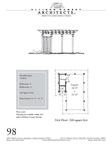 """G0034 is a 1-car carport. The overall dimensions are 16'-0"""" x 22'-6"""". Outbuildings, page 88."""