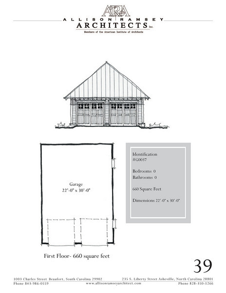 "G0037 is a 2-car garage. The overall dimensions are 22'-0"" x 30'-0"". Outbuildings, page 39."