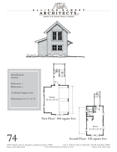 """G0038 is a 2-car garage with bonus space above. The overall dimensions are 20'-0"""" x 24'-0"""" with 336 heated square feet.  Outbuildings, page 64."""