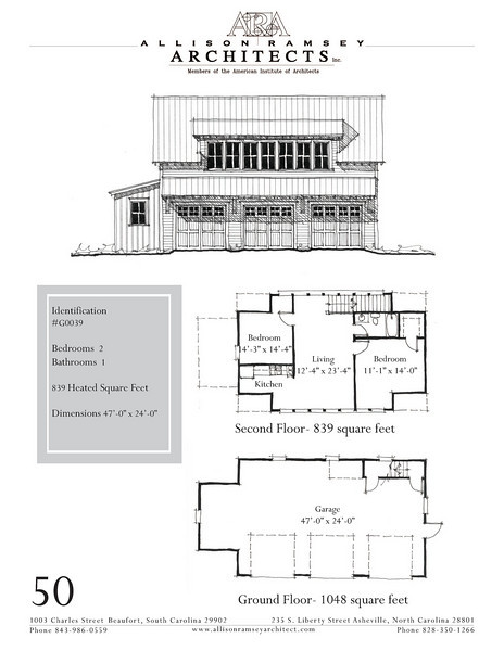 """G0039 is a 3-car garage with bonus space above. The overall dimensions are 47'-0"""" x 24'-0"""" with 839 heated square feet.  Outbuildings, page 40."""
