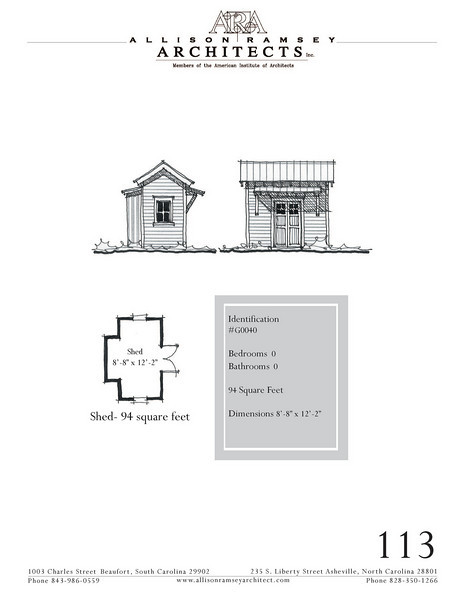 """G0040 is a garden shed. The overall dimensions are 8'-8"""" x 12'-2"""". Outbuildings, page 103."""