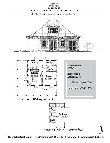 "G0043 is a 2-car garage with bonus space above. The overall dimensions are 43'-0"" x 38'-0"" with 1281 heated square feet.  Outbuildings, page 3."