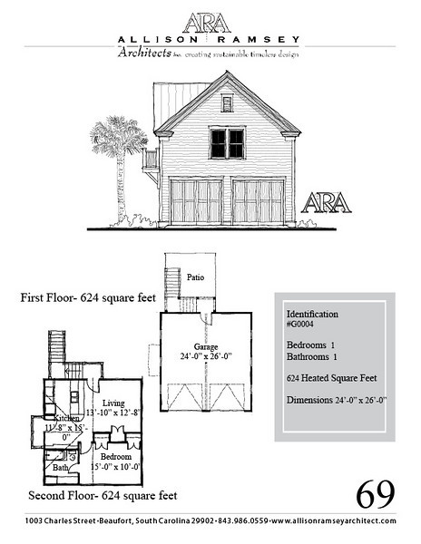 "G0044 is a 2-car garage with bonus space above. The overall dimensions are 24'-0"" x 26'-0"" with 624 heated square feet.  Outbuildings, page 69."