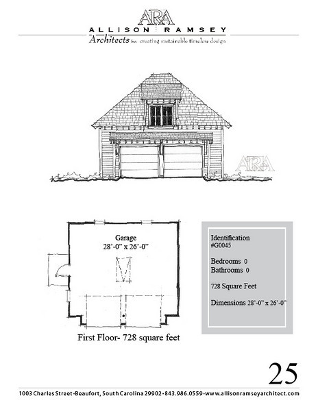 """G0045 is a 2-car garage. The overall dimensions are 28'-0"""" x 26'-0"""", 728 square feet.  Outbuildings, page 25."""