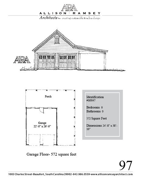 """G0047 is a 2-car garage. The overall dimensions are 24'-8"""" x 38'-10"""", 572 square feet.  Outbuildings, page 97."""