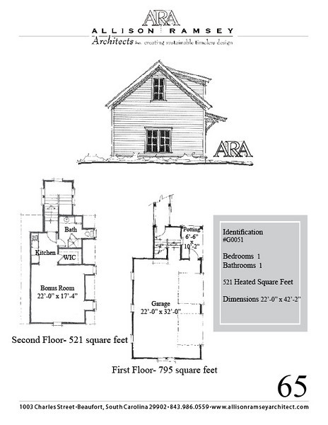 "G0051 is a 2-car garage with bonus space above. The overall dimensions are 22'-0"" x 42'-2"" with 521 heated square feet.  Outbuildings, page 65."