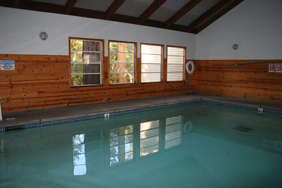 The indoor pool near the cottages