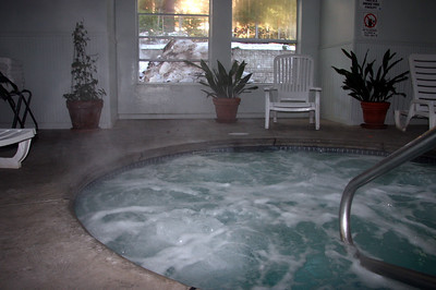"The ""indoor"" jacuzzi ... complete with windows locked open.  Brrr"