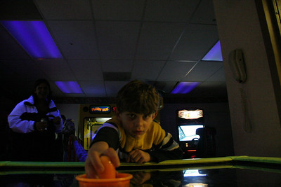Tyler and I enjoyed a game of air hockey.  He beat me too :)