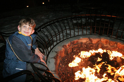 Tyler enjoying the outdoor fire pit