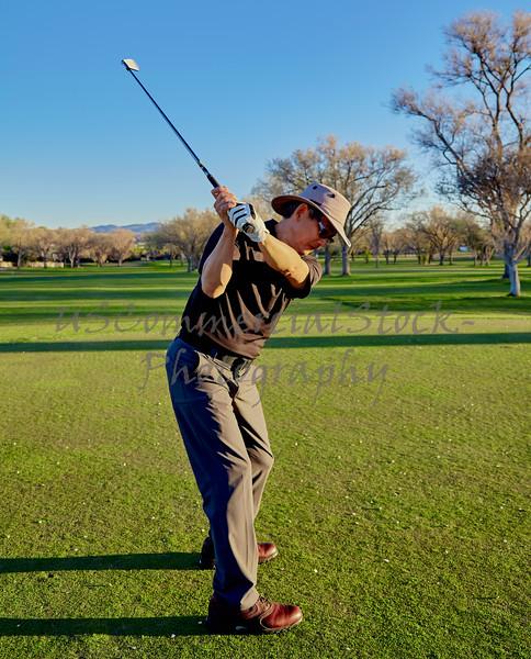 Senior Golfer practicing Golf Swing