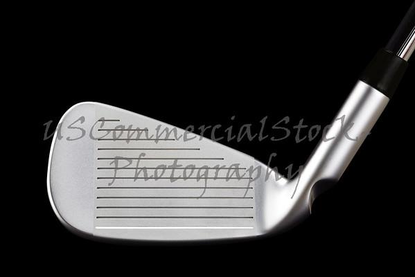 Golf Club Iron Closeup On Black