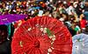 Aloha Festival Crowd with Umbrellas