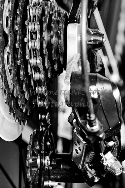 Bicycle gear set and derailleur mechanism detail closeup