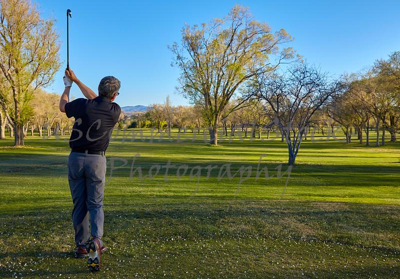 Man golf fairway long iron par 3 retired