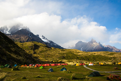 Adventurers congreagate at Paine Grande campsite in Torres Del Paine National Park.