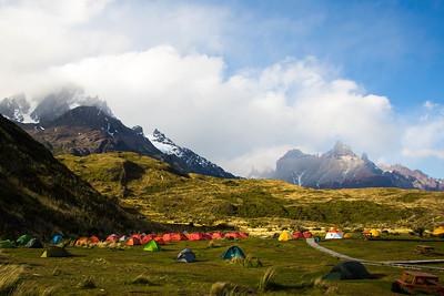 Adventurers congreagate at Paine Grande campsite in Torres Del Paine National Park.